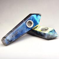 Бесплатная доставка Natural Healing дымовоотвод Кристалл Камень кварцевый Gemstone Wand курительные трубки Портативный Handpipe для курительных Гаджеты 39cr E19