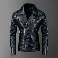 Мода осень мужская кожаная куртка пламя Алмаз черный мужские стенд воротник пальто кожаные байкерские куртки мотоцикл кожаная куртка