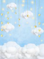 Golden Stars nuvole brillanti luci vinile fondali fotografia Cielo Blu neonato Photo Booth sfondi per i bambini Festa di compleanno stu
