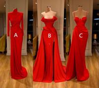 Sexy Arabisch 3 Stil Rote Meerjungfrau Prom Kleider High Neck Lange Ärmel Abendkleid Hohe Seite Split Formale Party Brautjungfer Kleid