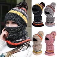 Caldo Donne Neve Crochet Knit Beanie Cappello di lana Pom sci protezione della sciarpa invernale Balaclava