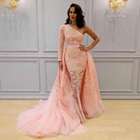 아프리카 복숭아 핑크 Overskirts 드레스 저녁 긴 소매 한 어깨 인 어 공주 댄스 파티 복장 레이스 Tulle 파티 드레스