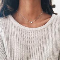 Lusion bijoux mode doré ralon couleur simple coeur collier cou de cou d'amour colliers pendentifs pendentifs femme extensible bohemien bijoux