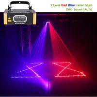AUCD Single Len Rot Blau RB Double Color Line Beam Laserlicht DMX Sound Lampe DJ Party Home Show Bühnenbeleuchtung DJ-504RB