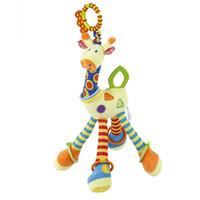 Cochecito de niño recién nacido del bebé Mano Cama Campanas suave juguetes colgantes infantil de dibujos animados de la jirafa animal Campanas traqueteos móvil felpa