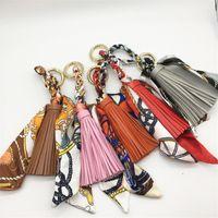 Kobiety Luksusowe Breloki Szalik PU Skórzany Tassel Car Key Chain Pierścień Uchwyt Moda Wisiorek Bag Charm Keyring Biżuteria Akcesoria Dla Dziewczyny Prezent