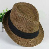 Mode Hüte für Frauen Fedora Trilby Gangster Kappe Sommer Strand Sonne Stroh Panama Hut mit Ribbow Band Sunhat Freies Verschiffen EMS