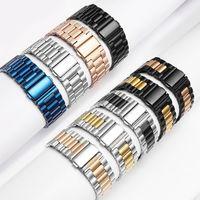Luxury Classic Stainless Steel Band metallo con adattatore per Cinturino di Apple Wristband fibbia pieghevole per iWatch 38 millimetri 42mm 44mm 40 millimetri Band