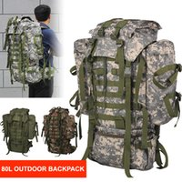 80L Tactical Backpack Hiking Rucksack Camouflage Men Camping...