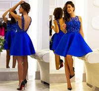 Royal Blue Satin Uma Linha Curto Homecoming Vestidos Jewel Pescoço Aberto Para Trás Sexy Coquetel Vestidos Sem Mangas De Honra Vestido