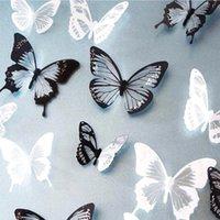 18pcs / lot 3d efeito de parede de cristal borboletas adesivo Borboleta bonita para a sala dos miúdos Decalques Decoração Home On The Wall