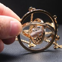 Gold Silver Alloy Personality Women Fashion Sand Glass Time Turner Pendant Necklace Men Time Gem Pendant Jewelry Gifts