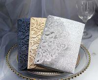 2019 Gold Glitter Laser Cut Tarjetas de invitación de oro rosa de lujo Tarjetas de RSVP para bodas Compromiso de despedida de soltera Cumpleaños Graduación de negocios