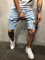 Yeni Yaz Erkek Delikler Denim Şort Moda Erkekler Denim Kot Ince Düz Pantolon Trend Erkek Tasarımcı Pantolon