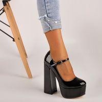 Kleid Schuhe OnlyMaker Womens Mary-Jane Pumps Plattform Chunky 15 ~ 16 cm High Heels Knöchelriemen Huf Plus Größe