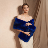 Unique Dress Shawl Faux Fur Blue Bride Dress Shawl Warm Shaw...