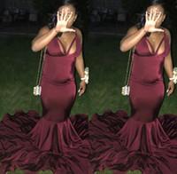 Africain Bourgogne Bourgogne Black Girls Sermaid Pal Robes Satin Sexy Plancher Longueur De Robes De Tienne Porter Ogstuff Robe de Soiser