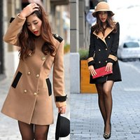 2016 мода Женская шерсть кашемир длинное зимнее пальто тренч блейзер пиджак верхняя одежда