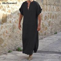 Artı boyutu 5XL 4XL Müslüman Erkekler İslami Bezi Jubah Thobe Elbiseler Kaftan Cep Katı Arapça Dubai Yaz Kısa Kollu Abaya Giyim
