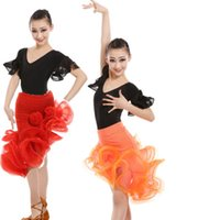 Etapa desgaste del salón de baile Concurso de baile Niños Dancing Vestidos Latino Salsa Rumba Tango Samba Cha Faldas Traje de Flamengo para niños Falda