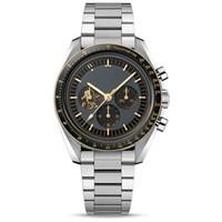 Top de la marca de relojes suizos para los hombres del Apollo 11 50 aniversario deisgner movimiento de cuarzo reloj de luz de la luna toda velocidad de línea de trabajo de línea Montre de luxe