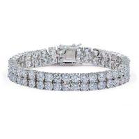 18k banhado a ouro hip hop pulseiras moda tênis pulseiras jóias luxo grau qualidade 2 linhas bling zircon homens braceletes das mulheres