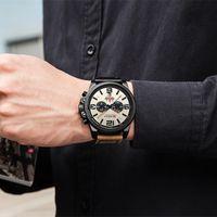 Relogio Masculino Hommes Montres Top Marque de luxe Hommes Sport militaire Montre-bracelet en cuir Quartz erkek Saat Curren 8314