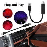 التوصيل والتشغيل -LED سقف السيارة ليلة نجوم السقف رومانسية الضوء العارض USB الخفيفة ليلة الداخلية المحيطة جو غالاكسي مصباح الديكور