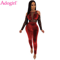 Adogirl Sheer Mesh Patchwork velours Jumpsuit femmes sexy froid épaule manches longues Skinny Romper Night Club Salopette Bodys T200107