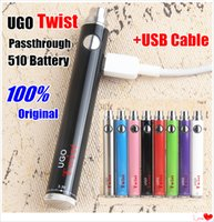 Autentico 100% EVOD UGO Twist Mirco USB Pass attraverso Vape Penne Voltage 510 variabile Batteria a filetto 3.2-4.8 v Batterie Vape con cavo USB