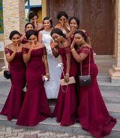 Koyu Kırmızı Seksi Mermaid 2022 Afrika Gelinlik Modelleri Kapalı Omuz Dantel Kollu Düğün Konuk Partisi Balo Elbise Abiye Robes de Demoisel