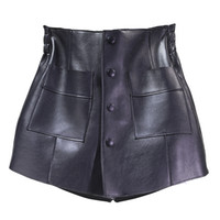 2020 printemps nouveau sommet Wasit simple bande élastique à poitrine poches en cuir PU patchwork short taille plus culottes des femmes S M L