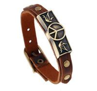 Venta caliente de moda signo de la paz de cuero hecho a mano de múltiples capas pulseras del encanto pulsera joyería para hombres y mujeres regalos