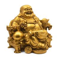 Abertura de cobre puro Maitreya estátua decoração cadeira do dragão Ping An Buda da Sorte escritório riqueza artesanato da cidade