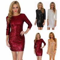 19SS Stil Kleid Frauen 5 Farben O Neck Langarm Paillette Pailletten Backless Bodycon Dünne Bleistift Party Kleider