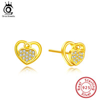 ORSA JEWELS Romantic S925 Women Heart Stud Earrings Clear CZ...