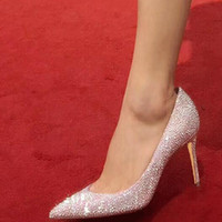 Al por mayor de alta calidad de las señoras de diamante de cristal de la boda zapatos de Europa y los Estados Unidos señaló boca tacón alto damas zapatos princesa fiesta