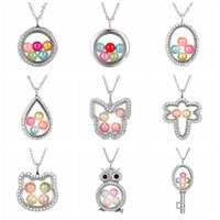 Слон Сова Женщина ожерелье Живые Beads памяти стекло Floating Медальон ожерелье Pearl Клетка Locket Подвеска подарки LJJ_TA1187