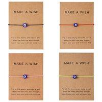 Wish Card 5 Farben Türkische Lucky Blue Evil Eye Armbänder Für Frauen Handgemachte Geflochtene Seil Armband Armreif Weiblich Männlich Schmuck