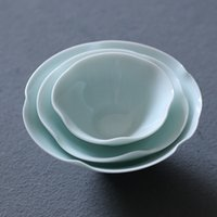Ceramic Lotus Tea Cup Plum Tea Bowl Accessories Jingdezhen Handmade Green Retro petal cup Celadon Teacup Home Decor
