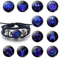 Douze Constellations ciel étoilé Bracelet À la main en cuir couples bracelets Zodiac verre Charm Bracelet pour cadeau de Noël Livraison gratuite