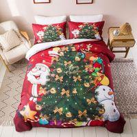 Padrão da árvore do Feliz Natal clássico 3Pcs / Set Printing conjuntos de cama macia 100% de cama de algodão de Inverno confortável Quilt Cama de saída