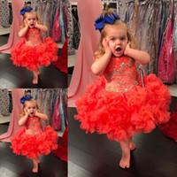 Прекрасные красные девушки Pageant платья с короткими рюшами из органзы Официальные платья на заказ из бисера Короткая вечеринка по случаю дня рождения