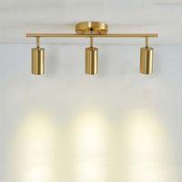Современные прожекторы Светодиодная лампа подвесной светло-золотой металл потолочный светильник приспособление домой искусство украшения освещение CA042