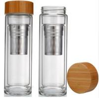 400 мл Бамбуковая крышка Стакан для чая с двойными стенками. Включает в себя ситечко и инфузорную корзину с бутылками для воды быстрая доставка