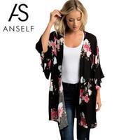 Anself Blusas Sommer Frauen Kimono Cardigan Beiläufige Lose Chiffonblusen Shirts Böhmischen Blumenmuster Lange Oberbekleidung Plus Größe