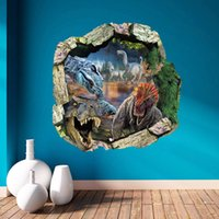 3D Broken Wall Decor Jurassic World Wall Stickers per bambini Camere Home Decor Dinosauri fai da te Poster Murale Wallpaper Stickers murali