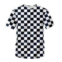 Neueste 3D-gedrucktes T-Shirt Schwarz Weiß Grid Short Hülsen-Sommer-beiläufige Oberseiten-T-Shirts Art und Weise O-Ansatz T-Shirt Männlich DX04