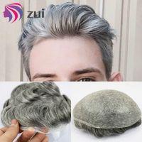 Bisoñes piel fina para piezas de reemplazo del pelo de los hombres de los hombres de Sistema de color del pelo humano del hombre de la peluca