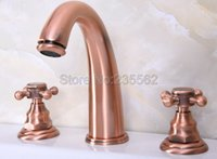 3 Hole Widespread Antique Red Copper Bathroom Basin Faucet D...